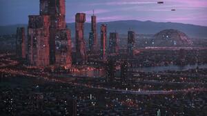 City Cityscape Futuristic City Science Fiction Dome Skyscape Skyscraper River Bridge City Lights Fly 1920x1200 wallpaper