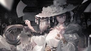 Anime Anime Girls Hat Black Hair Yellow Eyes Long Hair Looking At Viewer Women With Hats Braids Artw 5800x3000 Wallpaper