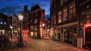 Architecture Street City Building Night Amsterdam Netherlands Cobblestone Bicycle Street Light Lamp 2048x1094 Wallpaper