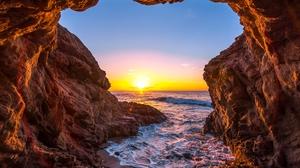 Cave Earth Horizon Ocean Sea Sun Sunset 7253x4746 Wallpaper