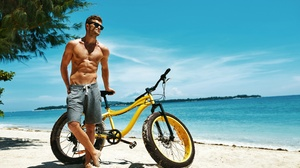 Beach Bicycle Man Model Sand Sky Sunglasses 5250x3500 Wallpaper