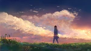 Original Anime Girl Sunset 1920x1080 Wallpaper