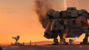 Ultrawide Bethesda Softworks Concept Art Video Games Spaceship Sunset Robot Planet STARFiELD The Gam 5120x1440 Wallpaper