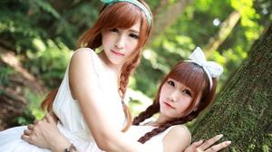 Asian Model Women Long Hair Brunette Hair Band Braids Twintails White Dress Depth Of Field Trees For 2736x1824 Wallpaper