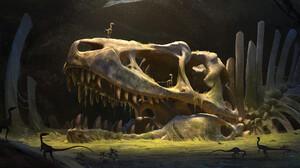 Artwork Digital Art Dinosaurs Bones Fossils Skull Raptor Moss Ancient 3000x1500 wallpaper