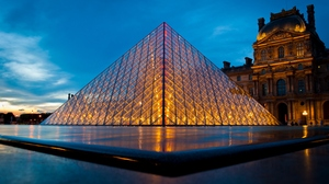 Louvre Pyramid Paris France Building Crystal Architecture Sky Night 3000x2008 Wallpaper