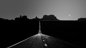 Dark Road Asphalt Monochrome USA Moon Clear Sky 1920x1204 Wallpaper