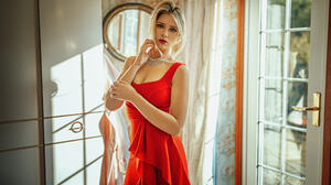 Oliver Gibbs Women Blonde Makeup Looking At Viewer Jewelry Dress Red Clothing Sun Rays 2048x1152 Wallpaper