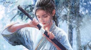 Girl Samurai Snowfall Snowflake Woman Warrior 2872x1615 Wallpaper