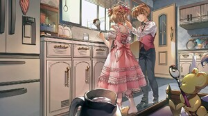 Cardcaptor Sakura Kinomoto Sakura Li Syaoran Couple Kitchen Romance Lolita Kerberos Cardcaptor Sakur 1920x1080 Wallpaper