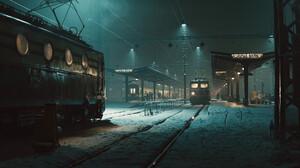 Marcel Haladej Train Winter Cold Frost Ice Snow Artwork Vehicle Dark Train Station 2560x1066 Wallpaper