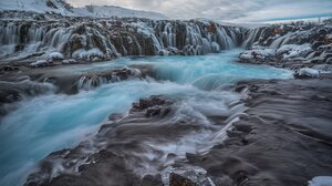 Bruarfoss Waterfall Frozen Iceland Nature Rock Snow Waterfall Winter 7360x4912 Wallpaper