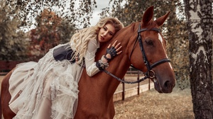 Blonde Girl Horse Long Hair Model White Dress Woman 2560x1707 Wallpaper