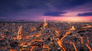 Light City France Eiffel Tower Cityscape 2499x1303 Wallpaper