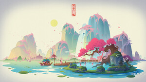 Jun Zhang Asian Architecture White Background Digital Art Cherry Blossom Hot Spring Mountains Boat 1920x1008 Wallpaper