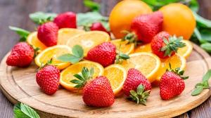 Berry Strawberry Orange Fruit Still Life 5760x3840 wallpaper