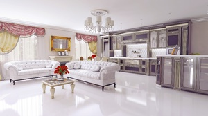 Chandelier Furniture Living Room Room Sofa 3840x2400 Wallpaper
