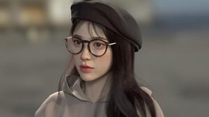 Artwork Digital Art 3D Women Brunette Hat Glasses Women With Glasses Long Hair 1920x1080 Wallpaper