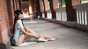 Asian Model Women Long Hair Dark Hair Sitting Hair Ornament Vicky Traditional Clothing White Shoes R 3840x2880 wallpaper