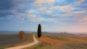 Cloud Dirt Road Road Sky Sunset Tree Tuscany 3887x2410 wallpaper