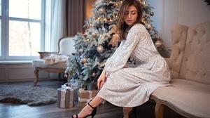 Brunette Christmas Dress Girl High Heels Model Mood Woman 2048x1365 Wallpaper
