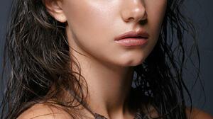 Women Looking At Viewer Model Photography Brunette Gray Eyes Portrait Display Portrait Bare Shoulder 1080x1620 Wallpaper