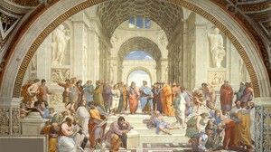 Raphael Athens Philosophy Arch Architecture Painting Students Steps Classic Art Socrates Greek Philo 1920x1200 Wallpaper