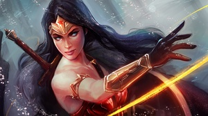 Dc Comics Girl Woman Warrior Long Hair Black Hair Blue Eyes 3840x2160 Wallpaper