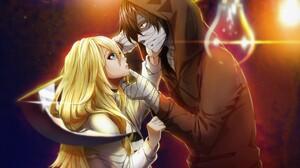 Bandage Blonde Blue Eyes Boy Brown Hair Coat Girl Hood Long Hair Rachel Gardner Satsuriku No Tenshi  5558x4229 Wallpaper