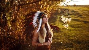 Dreamcatcher Feather Girl Headband Model Native American Redhead Woman 2560x1707 Wallpaper