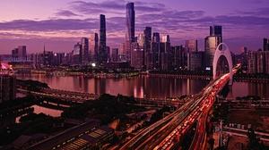 Bridge Building China City Guangzhou Night Skyscraper 3840x2160 Wallpaper