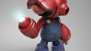 Crossover Super Mario Metroid Video Games Video Game Art 3D Render CGi Simple Background 1450x1450 Wallpaper