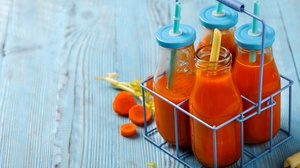 Bottle Carrot Drink Juice Still Life 5074x3383 Wallpaper