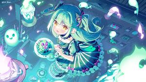 Anime Anime Girls Ikari Artwork Green Hair Yellow Eyes Dress Halloween 1930x1080 Wallpaper