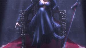 Fate Series Fate Stay Night Fate Stay Night Heavens Feel Black Dress Blonde Female Warrior Sitting F 2500x3746 Wallpaper
