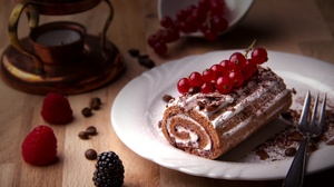 Berry Dessert Pastry Still Life Swiss Roll 5184x3456 Wallpaper