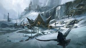 Liang Mark Digital Art Fantasy Art Fantasy Architecture Snow Crow Cliff Wooden Huts 1920x911 Wallpaper
