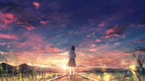 Girl Sky Sunset 3860x2160 Wallpaper