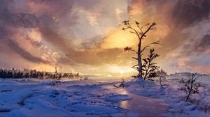 Winter Tree Sky Snow 3820x1592 Wallpaper