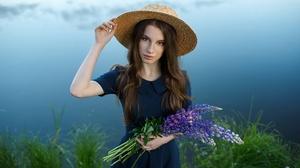 Outdoors Women Outdoors Women With Hats Women Model Hat Looking At Viewer Flowers Plants Brunette St 2048x1367 Wallpaper