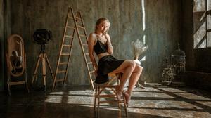 Women Model Blonde Looking At Viewer Black Tops Sitting Black Clothing Barefoot Stairs Mirror Reflec 2048x1230 Wallpaper