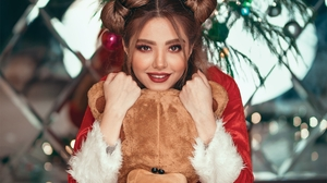 Brown Eyes Brunette Girl Lipstick Model Smile Stuffed Animal Teddy Bear Woman 2500x1964 Wallpaper