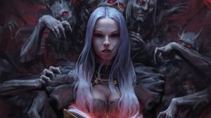 Woman Demon White Hair Stare 1920x1220 wallpaper