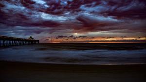 Cloud Horizon Pier Sunset 3840x2400 wallpaper