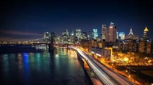 Cityscape New York City Long Exposure USA Brooklyn Bridge West Side Highway Night Lights City Road R 3840x2160 Wallpaper