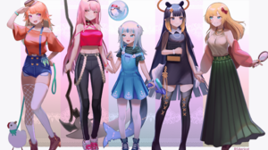 Hololive Takanashi Kiara Mori Calliope Gawr Gura Ninomae Inanis Watson Amelia Streetwear Anime Anime 2310x1530 Wallpaper