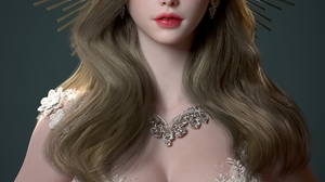 Su Jung CGi Women Brunette Crown Long Hair Makeup Wavy Hair Jewelry Necklace Dress White Clothing Si 1920x3000 Wallpaper