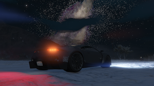 Grand Theft Auto V Mount Chiliad Milky Way Lamborghini Snow Dirt Road Night Night Sky 3840x2160 Wallpaper
