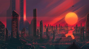 Sunset Sun Skyscraper Building Futuristic 2560x1440 wallpaper
