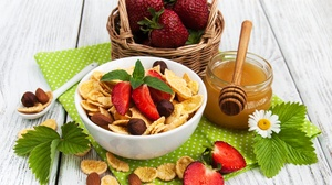 Berry Breakfast Cereal Honey Still Life Strawberry 2653x2232 Wallpaper